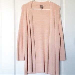 Chico's Open Front Cardigan Sweater Peach Knit